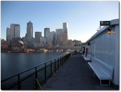 Seattle Skyline auf der Fähre