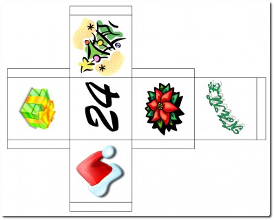 Bastelvorlage Adventkalender - Würfel