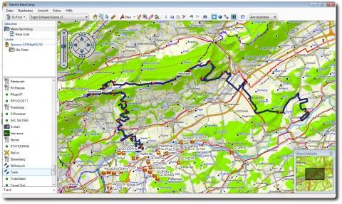 Garmin BaseCamp Benutzeroberfläche