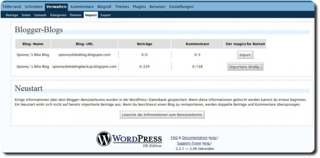 Blogger Import WordPress