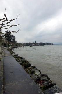 Aufgewühlter Lac Leman beim Corsier Port