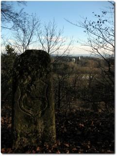 Grenzstein 1764 auf dem Zwingherrenhubel - im Hintergrund wären die Alpen