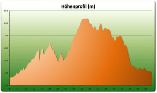 Ochlenberg Tour Höhenprofil