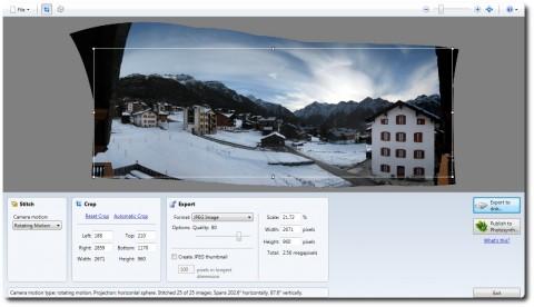 Microsoft ICE Resultat und Auto-Croping Funktion