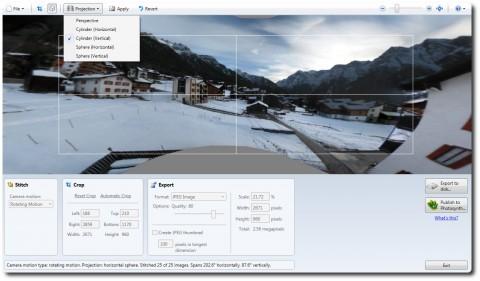 Microsoft ICE mit verschiedenen Projektionsformaten