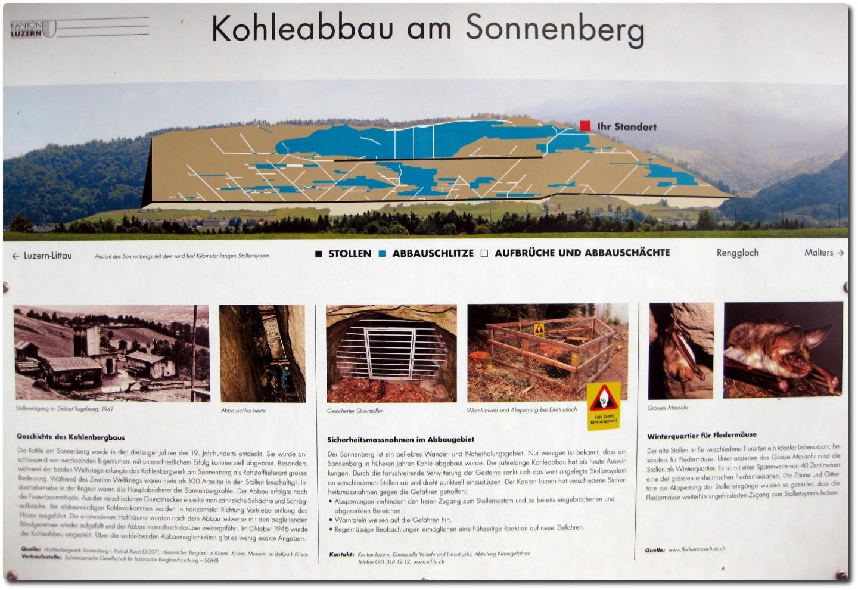 Schautafel über den Kohleabbau im Sonneberg