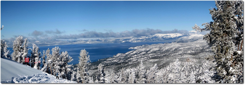 Panoramablick auf den Lake Tahoe