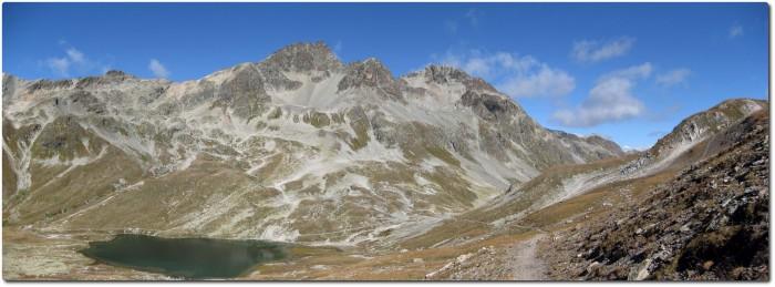 Panorama mit Lej Suvretta und Suvretta Pass