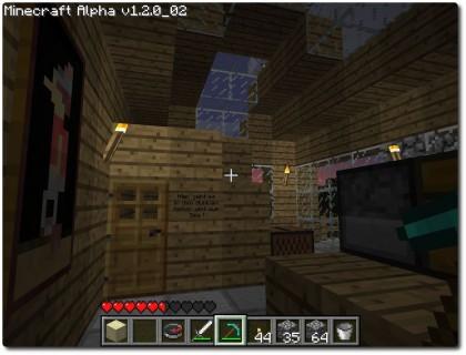 Minecraft - Innenansicht meines Hauses bei Nacht