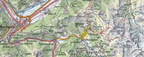 Kartenausschnitt Raum Verbier Quelle: swisstopo