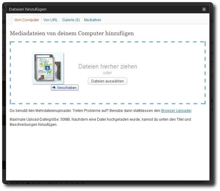 Neuer Drag and Drop Medienupload von WordPress 3.3