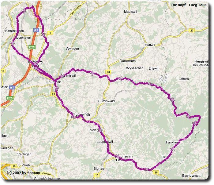 Napf - Lueg Tour Kartenausschnitt