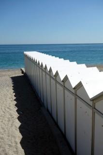 Strandkabinen in Noli