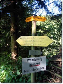 Wegsperrung bei Rüedisbach