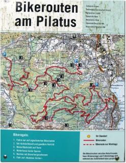 Karte der offiziellen Mountaibike Wege am Pilatus