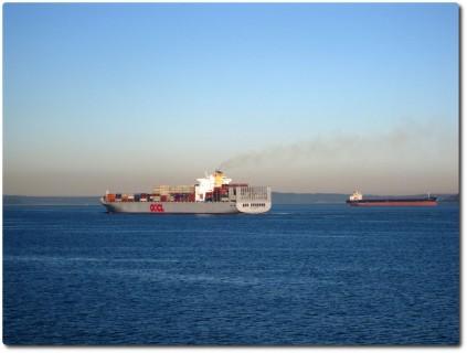 Container Schiffe im Puget Sound