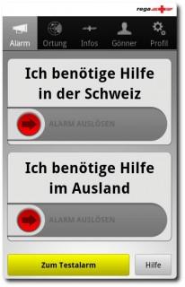 Rega Notfall App - Alarmierung mit einem Slide
