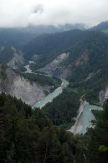 Blick in die Rheinschlucht bei Conn