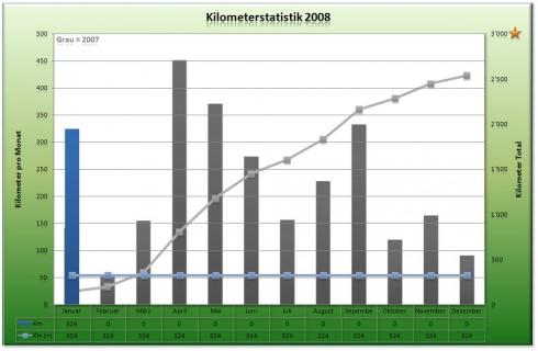 Kilometerstatistik 2008 - Stand Januar