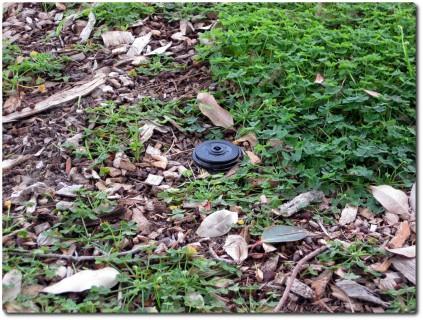 Geocache getarnt als Gartensprinkler