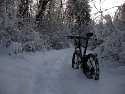 Schwierig zu biken bei 40cm Schnee