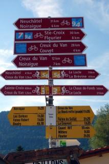 Bikewegweiser in Travers
