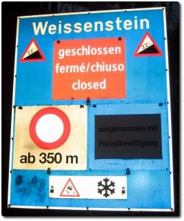Warnschild Weissensteinstrasse