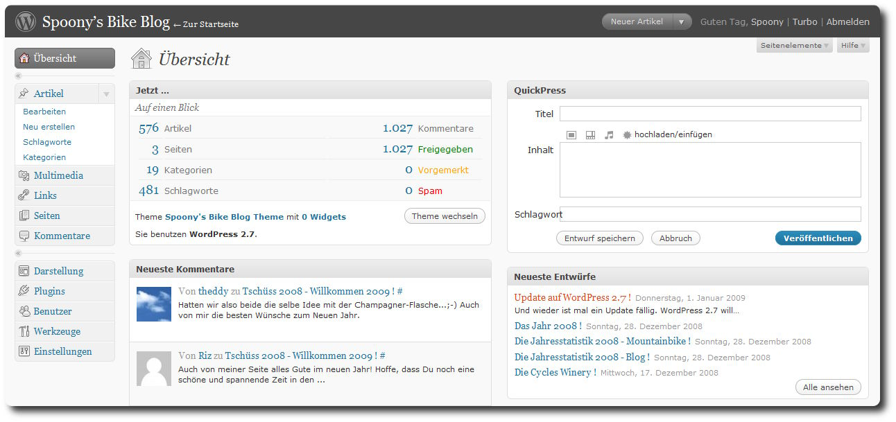 WordPress 2.4 - Dashboard im neuen Look