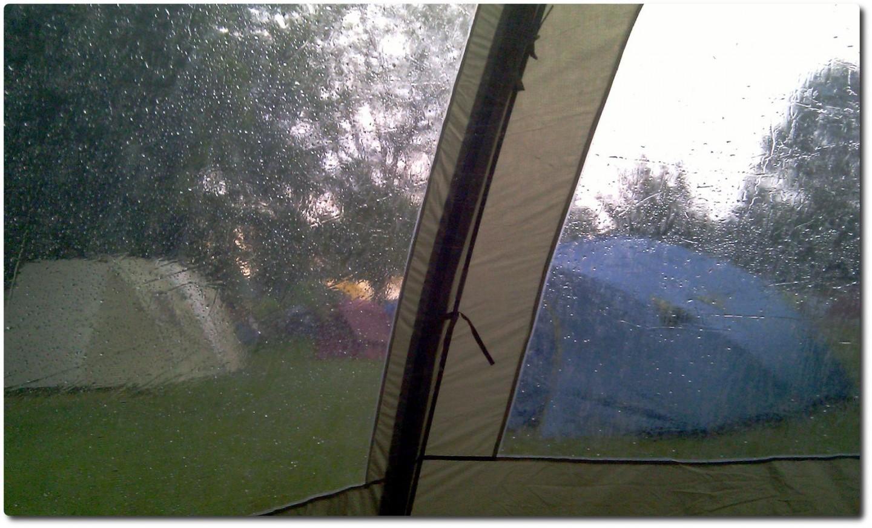 Zelten in der Badi - Wetter wie immer...